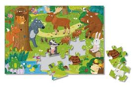<b>Пазл листовой на</b> подложке. Лесные животные. 24 детали ...