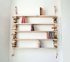 wood bookshelves from wood and cotton rope by amy hunting bookshelf furniture design
