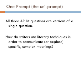 One Prompt  the uni prompt  All three AP Lit questions are versions of SlidePlayer