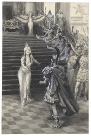 antony and cleopatra shakespeare library drawing by a m faulkner of cleopatra greeting antony 1906