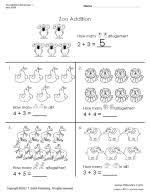 Free Addition Worksheets for Kindergarten - Sixth Grade | TLSBooksThumbnail image of Zoo Addition Worksheet.