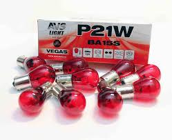 """<b>Лампа AVS Vegas</b> 12V. <b>P21W</b> (BA15S) """"red"""" BOX (10 шт.) оптом от ..."""