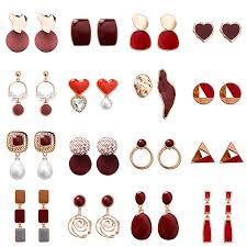 <b>Korean Fashion</b> Dark Red Earrings / <b>Geometric</b> Ladies Elegant ...