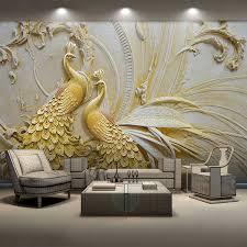 Custom Photo <b>Wallpaper</b> 3D Stereoscopic Relief Peacock Butterfly ...