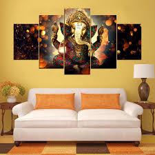 <b>HD Prints</b> 5 Pieces Elephant Trunk God <b>Modular Poster</b> Ganesha ...