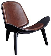 shell leather lounge chair mid century modern black frame dark brown midcentury black leather mid century