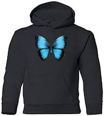 Real <b>3D</b> Morpho Didius Butterfly <b>Youth</b> Hoodie Cool <b>Texture</b> ...
