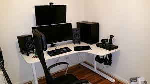 white ikea bekant corner desk in a gaming room with white wall bekant desk sit stand ikea