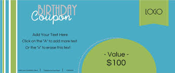 custom birthday coupons customize online print at home blue and green