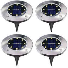 4Pcs 8 LED <b>Solar Powered Ground</b> Lights Outdoor lamp Waterproof ...