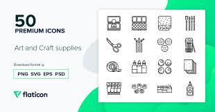 Art and craft supplies 50 премиум иконок (файлы SVG, EPS, PSD ...