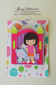 jingvitations not your ordinary invitations handmade dora invitations