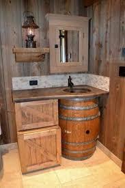 rustic diy bathroom furniture bathroom wooden barrel wooden crates sink mirror lantern build your own rustic furniture
