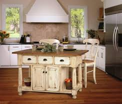 rustic kitchen island: white rustic kitchen island design with wooden floor for charming kitchen with nice wooden chairs