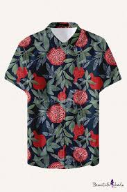 Vintage <b>Mens</b> Shirt Pineapple Pomegranate Orange Watermelon ...