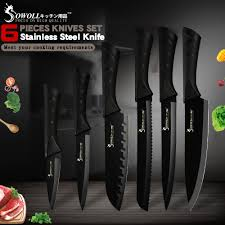 <b>Sowoll Stainless Steel Kitchen</b> Knives 6 Piece Set Sharp Black ...