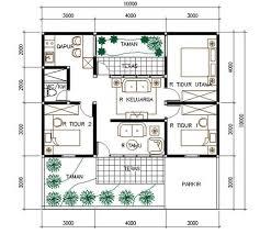 denah rumah 1 lantai 3 kamar: 17 desain rumah minimalis modern 3 kamar tidur paling bagus