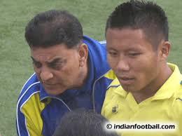 ... Debnath (center) and goalkeeper Arindam Bhattacharya (green jersey)