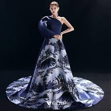 <b>Vintage</b> / <b>Retro Chinese style</b> Navy <b>Blue</b> Evening Dresses 2019 A ...