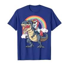 Unicorn Riding T rex Shirt Dinosaur Boys Girls Kids ... - Amazon.com