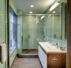 green glass subway tile bathroom midcentury with double faucets glass shower bathroom mid century