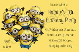 party invitations create bespoke invitations despicable me party invitations