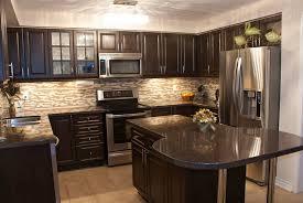 dark cabinets backsplash countertops home design