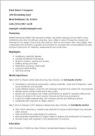 professional solidworks drafter templates to showcase your talent    resume templates  solidworks drafter