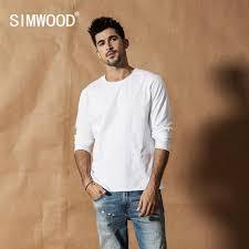 <b>SIMWOOD 2019 Autumn Winter</b> New Long sleeve solid t shirt men ...