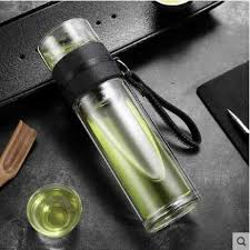 Double layer Tea Bottle High Borosilicate Glass Water Bottle <b>Men's</b> ...