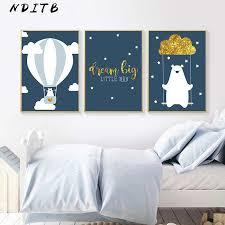 NDITB Tribe <b>Woodland Animal Canvas</b> Art Poster Bear Rabbit ...