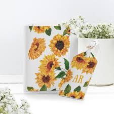 Travel Luggage Cover Yellow Sunflowers <b>Green Leaves</b> Suitcase ...