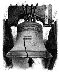 「On July 8, 1776, the 2,000-pound bell known as the 'Liberty Bell', rings out from the tower of the Pennsylvania State House」の画像検索結果