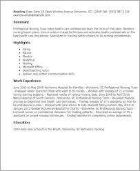 professional professional nursing tutor templates to showcase your    resume templates  professional nursing tutor