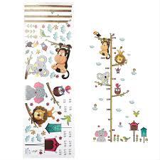 Adhesive Cute Elephant Lion Kids Height Chart <b>Wall Sticker Vinyl</b> ...