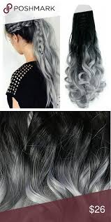 Grey ombre ponyclip Synthetic ...<b>Hair Length</b>: 22 inches(<b>About 55cm</b> ...