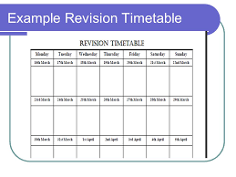 agenda what is revision  the three steps to successful revision    example revision timetable