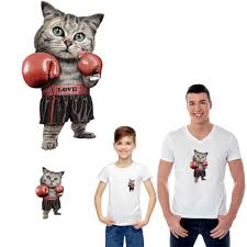 <b>hip hop</b> boxing cat parent child clothes <b>iron</b> stickers <b>patches</b> for ...