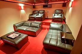 basement rec roomhome theatre with colored led strip lighting photo credit basement rec room decorating