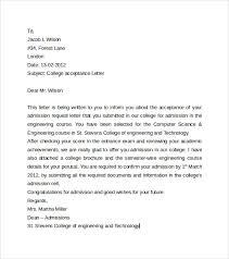 sample college acceptance letter     download free documents in wordcollege acceptance letter to download