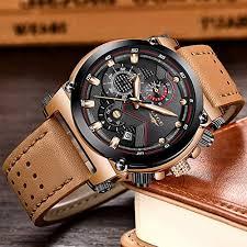 LIGE <b>Men's Fashion Sport</b> Quartz Watch with Brown Leather Strap ...