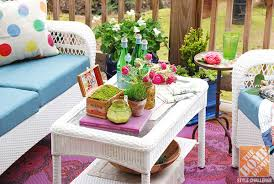 deck decorating ideas white wicker patio furniture and lots of bright colors for a bohemian bright ideas deck