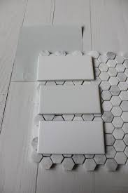 white bathroom floor: benjamin moore wickham gray with subway tile amp hex floor tile we are halfway there