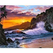 <b>5D DIY Diamond</b> Painting Landscape Sunset Beach <b>Resin Diamond</b> ...
