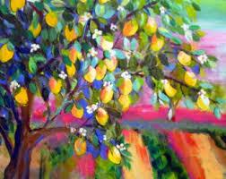 lemon tree x: lemon tree large landscape original painting wall art canvas art landscape painting  x  art by elaine cory
