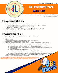 vacancy s executive holographic label sdn bhd marketing3
