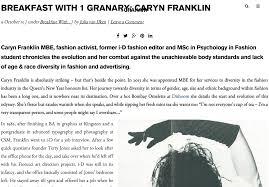 press franklin on fashion caryn franklin diversity visionary press caryn franklin has breakfast at the granary