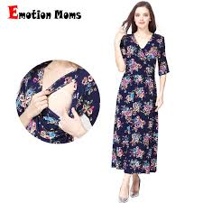 <b>Emotion Moms</b> V Neck Floral <b>Long</b> Maternity Clothes Nursing ...