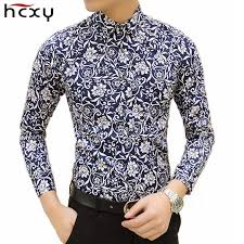 HCXY 2019 <b>autumn New mens</b> work shirts Brand Long sleeve Floral ...