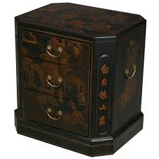 exp handmade black leather 3 drawer end table image asian inspired furniture